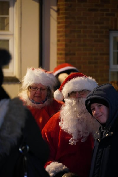 Farther Christmas at the Newport Pagnell Christmas Lights switch on.