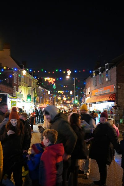 A packed crowd in the High Street of Newport Pagnell for the Town's annual Christmas Lights switch on