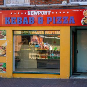 Shop front for Newport Pagnell Kebab and Pizza in Newport Pagnell High Street