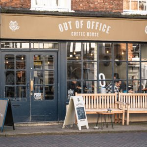 Shop front for Out of Office Coffee House in Newport Pagnell High Street
