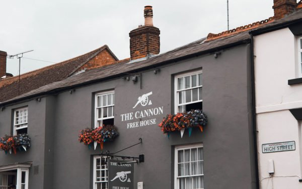 Outside the front of The Cannon pub in Newport Pagnell High street