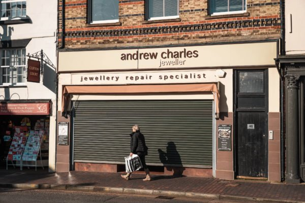 Shop front for Andrew Charles in Newport Pagnell High Street