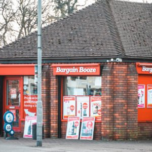 Shop front for Bargain Booze in Newport Pagnell High Street