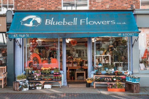 Shop front for Bluebell Flowers in Newport Pagnell High Street
