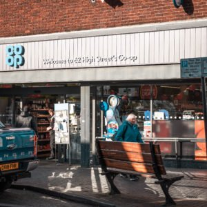 Shop front for Coop in Newport Pagnell High Street
