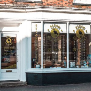 Shop front for Heron Opticians in Newport Pagnell High Street