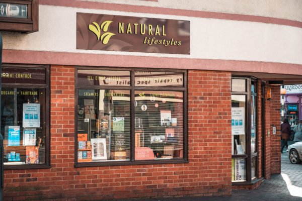 Shop front for Natural Lifestyles in Newport Pagnell High Street