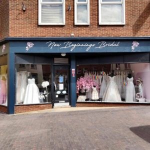 Shop front for New Beginings Bridal based in Newport Pagnell High Street