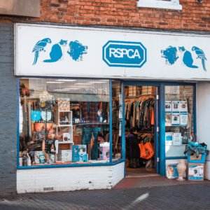 Shop front for RSPCA in Newport Pagnell High Street
