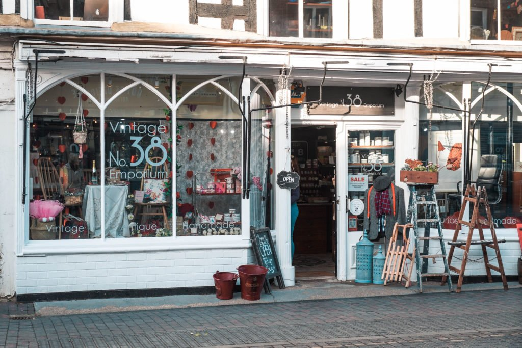 Shop front for Vintage No 38 Emporium in Newport Pagnell High Street