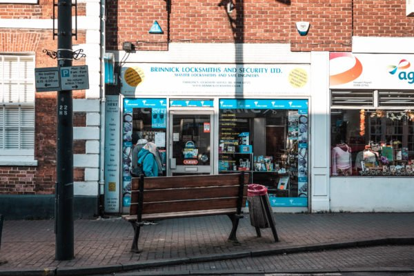 Shop front for Brinnick Locksmiths and Security in Newport Pagnell High Street