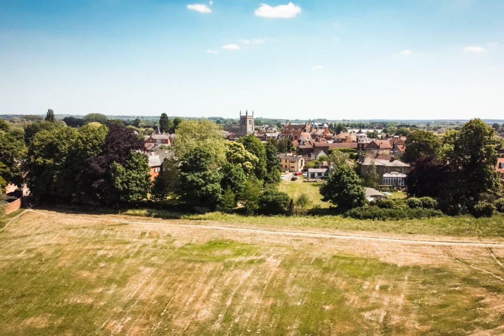 Drone image of Bury Field Common, looking towards Newport Pagnell Town